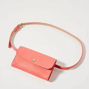 Anthropologie Pink Leather Hip Maggie Belt Bag